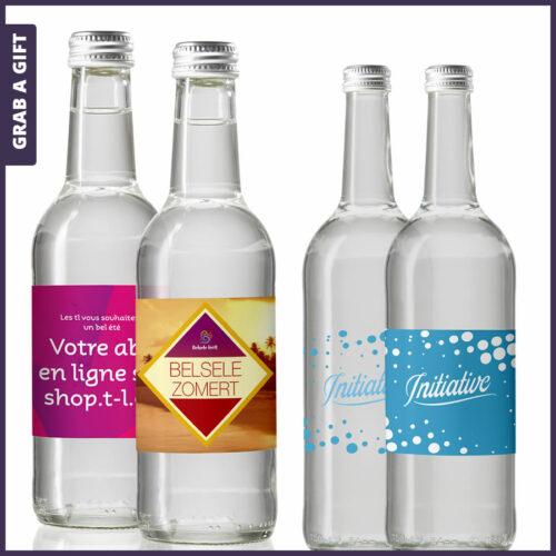 Grab a Gift - Mineraalwater in een glazen fles met bedrukt etiket