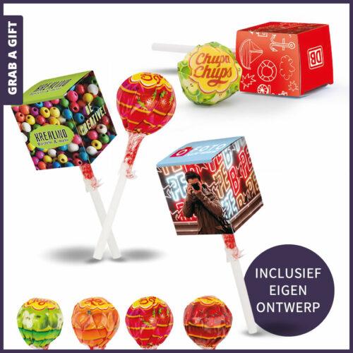Grab a Gift Relatiegeschenken - Chupa Chups lolly in doosje met eigen bedrukking in kleur