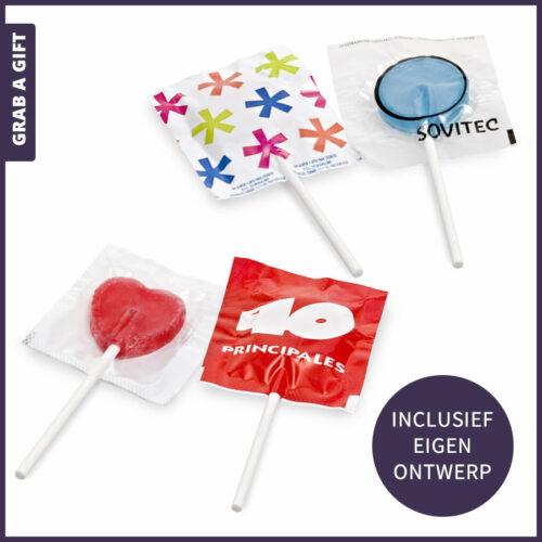 Grab a Gift Relatiegeschenken - Kleine platte budgetlolly bedrukken met logo