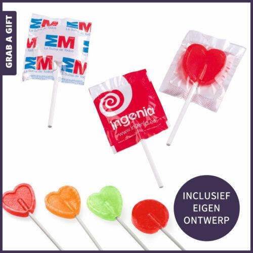 Grab a Gift Relatiegeschenken - Middelgrote platte reclamelolly bedrukken met logo