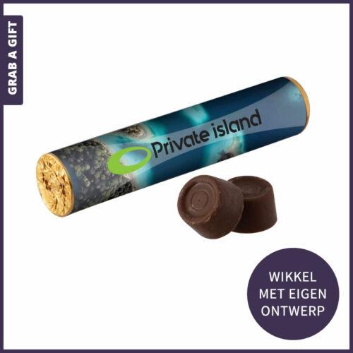 Grab a Gift - wikkel in kleur bedrukken van rol met rolo chococolade