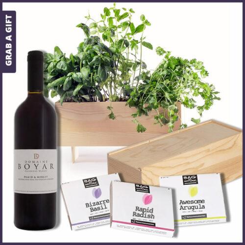Grab a Gift Rackpack Wijnkistjes Graveren - Fresh Garden met logo gravure