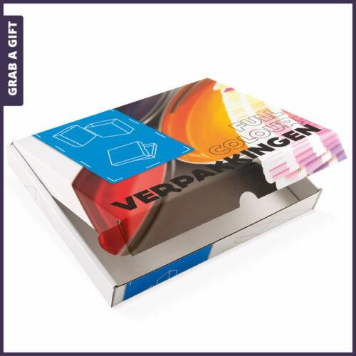 Grab a Gift Relatiegeschenken - Brievenbusdoosjes in kleur bedrukken met een logoof ander ontwerp