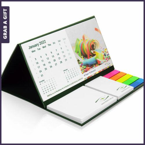 Grab a Gift Relatiegeschenken- Bureaukalenders met plaknotities en pagemarkers bedrukken