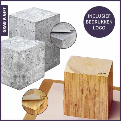Grab a Gift Relatiegeschenken - Notitieblokjes 'Design Editie' bedrukken met logo