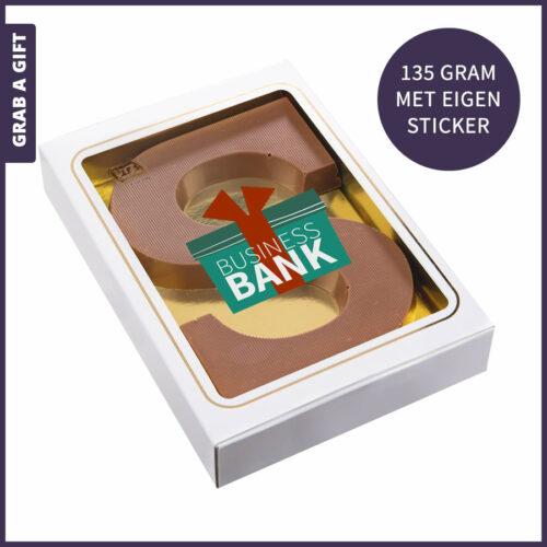 Grab a Gift - Alfabetletter 135 gram met een bedrukte sticker in eigen vorm