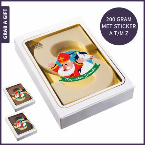 Grab a Gift - Alfabetletter 200 gram met een bedrukte sticker in eigen vorm