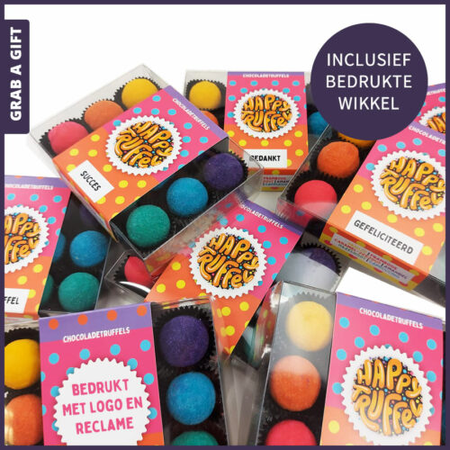 Grab a Gift Chocoladegeschenk - 12 Happy Truffels in transparant doosje met bedrukte wikkel