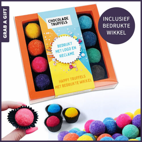 Grab a Gift Chocoladegeschenk - 16 Happy Truffels in doosje met Full Colour bedrukte wikkel