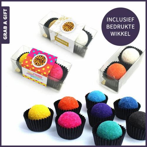 Grab a Gift Chocoladegeschenk - 2 chocoladetruffels in transparant doosje met bedrukte wikkel