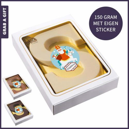 Sinterklaasletter 150 gram in melk, puur of witte chocolade
