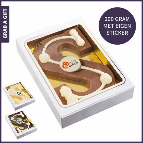 Grab a Gift - Sinterklaasletter 200 gram met rond logo chocolaatje