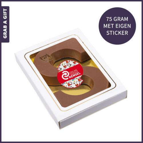 Grab a Gift - Sinterklaasletter 75 gram met een bedrukte sticker in eigen vorm